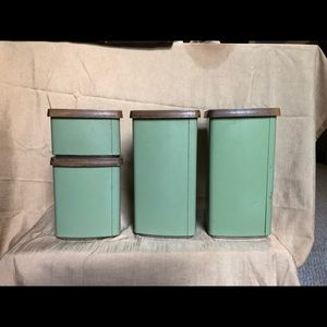 Vintage Kitchen - Lincoln Beauty Ware 4 canister kitchen set green